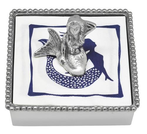 Mermaid Beaded Napkin Box by Mariposa