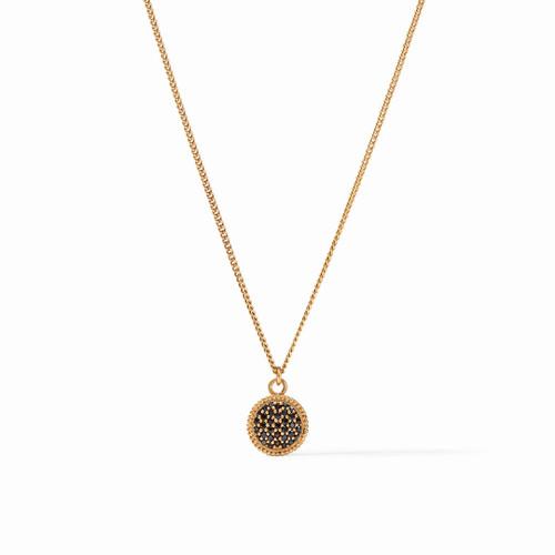 Julie Vos Fleur de Lis Solitaire Necklace - Gold Pave Obsidian Black Reversible