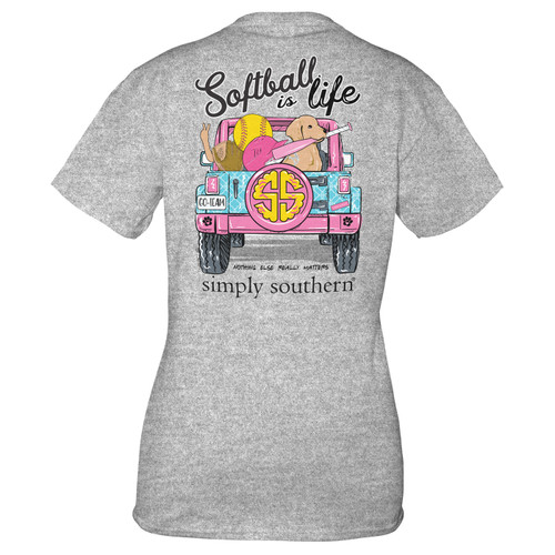 Small Heather Gray Softball YOUTH Short Sleeve Tee by Simply Southern