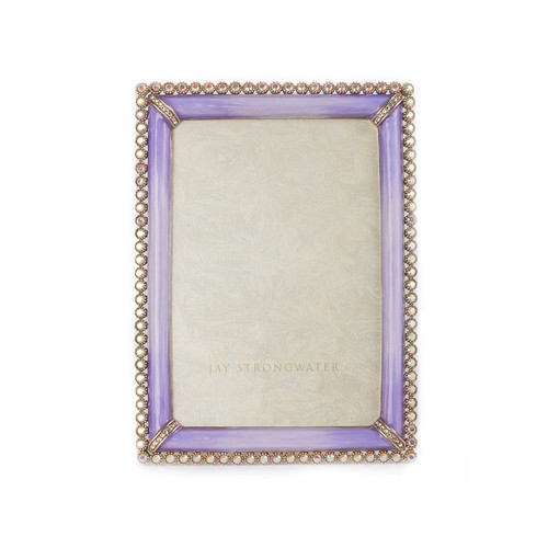 """Jay Strongwater Lorraine Stone Edge 4"""" x 6"""" Square Frame - Lavender - Special Order"""