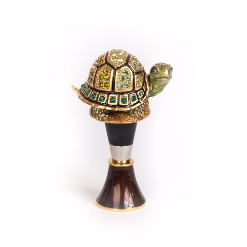 Jay Strongwater Evan Turtle Wine Stopper & Stand - Special Order