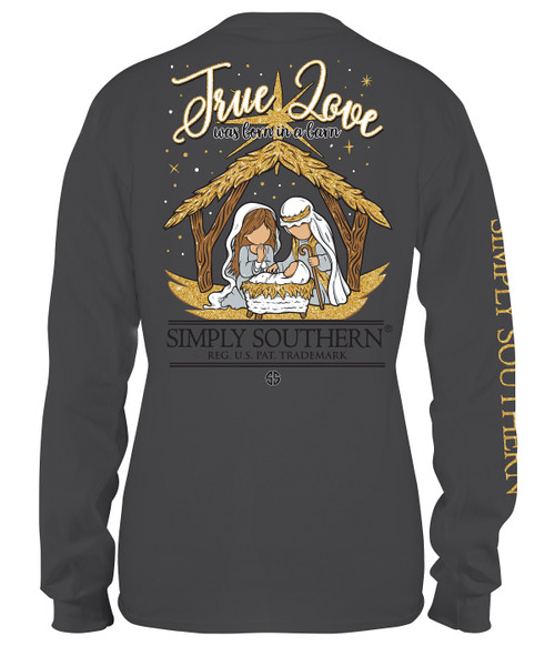 Small Born in a Barn True Love Iron Long Sleeve Tee by Simply Southern