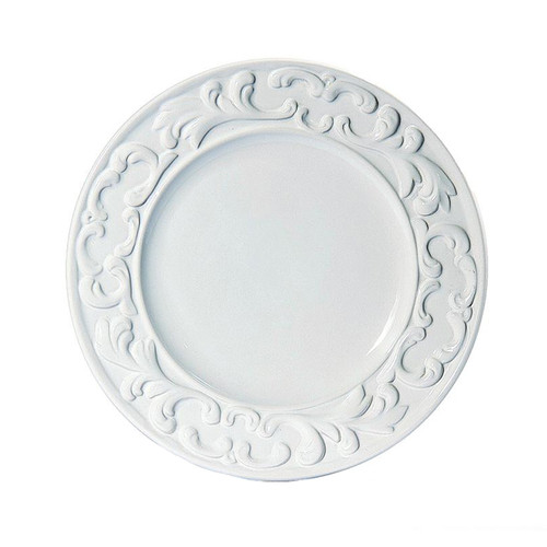 """(A) Baroque White Dinner Plate 11"""" - Set of 4 - Intrada Italy - Special Order"""