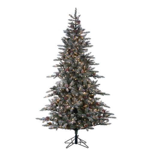 Flocked McKinley 7.5 ft. Pine with Pinecones by Sterling Tree