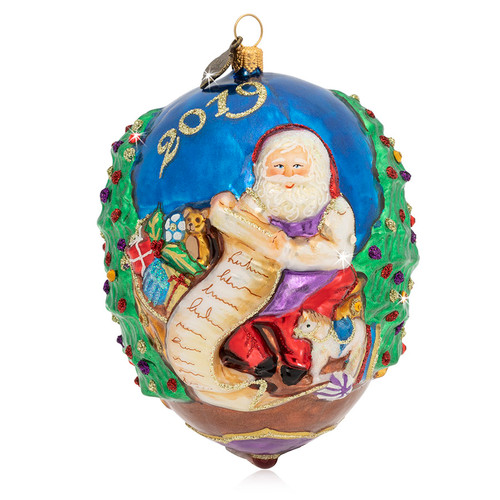 Jay Strongwater 2019 Santa Glass Ornament - Special Order