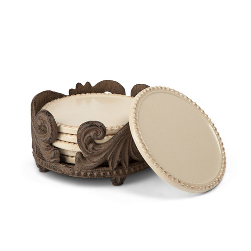 Acanthus Collection 6 pc Set Ceramic Coasters with Metal Holder - GG Collection