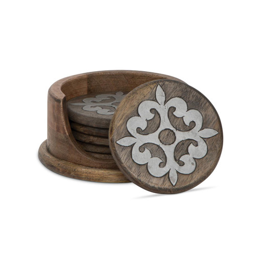 Wood and Metal Inlay Coaster Set - GG Collection