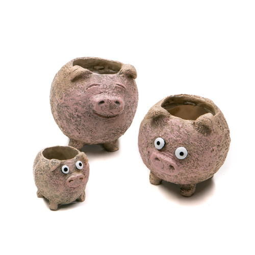Georgetown The Porcini's, Pig Family Planters