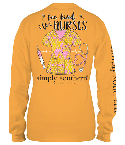Large Bee Kind to Nurses Mustard Long Sleeve Tee by Simply Southern