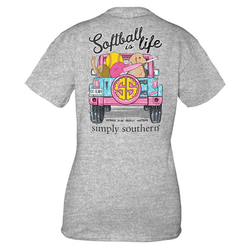 Small Heather Gray Softball Short Sleeve Tee by Simply Southern