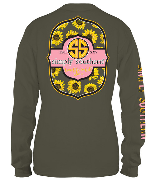 Medium Live Life In Full Bloom Moss Long Sleeve Tee by Simply Southern