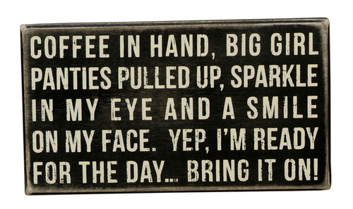 Coffee in Hand Box Sign - Primitives by Kathy
