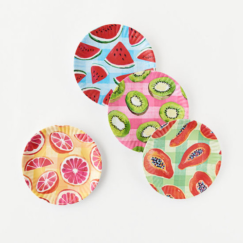 """Gingham Fruit """"Paper Plate Look"""" Melamine 9"""" Plate by One Hundred 80 Degrees - Set of 4"""