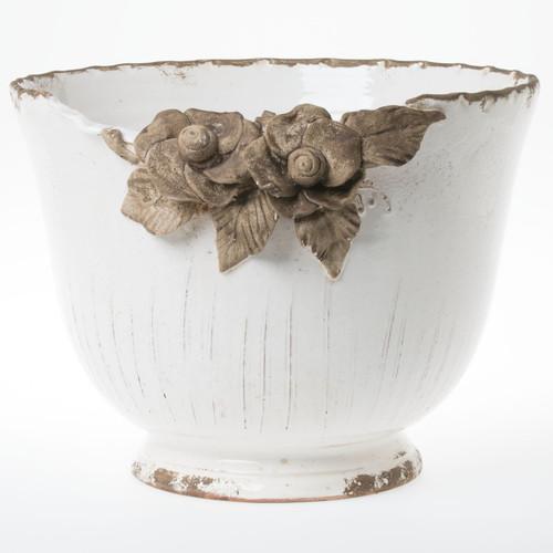 Vietri Rustic Garden White Planter w/ Flowers - Special Order