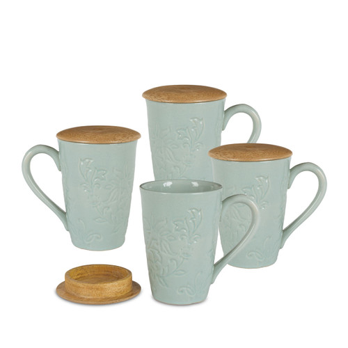 Etched Floral Mist Ceramic Mugs with Mango Lid - Set of 4 - GG Collection