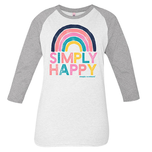 X-Large Vintage White and Gray Simply Happy Long Sleeve Tee by Simply Southern