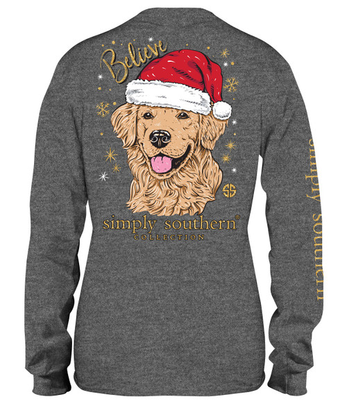Xlarge Santa Dog Believe Dark Heather Gray Long Sleeve Tee by Simply Southern