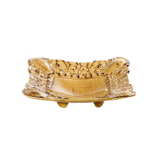 """(A) Baroque Honey Square Footed Shallow Bowl 10""""W - Set of 4 - Intrada Italy - Special Order"""