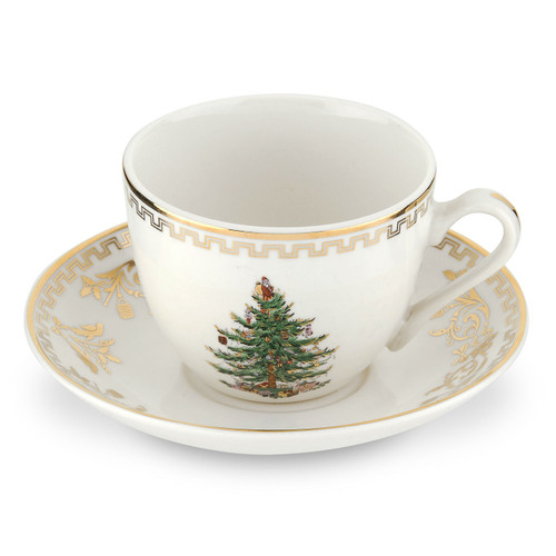Christmas Tree Gold Set of 4 Teacups And Saucers by Spode - Special Order