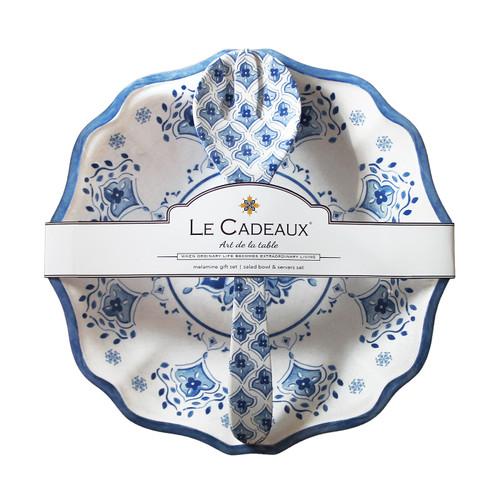 """Moroccan Blue 13.75"""" Salad Bowl & Server Gift Set by Le Cadeaux"""