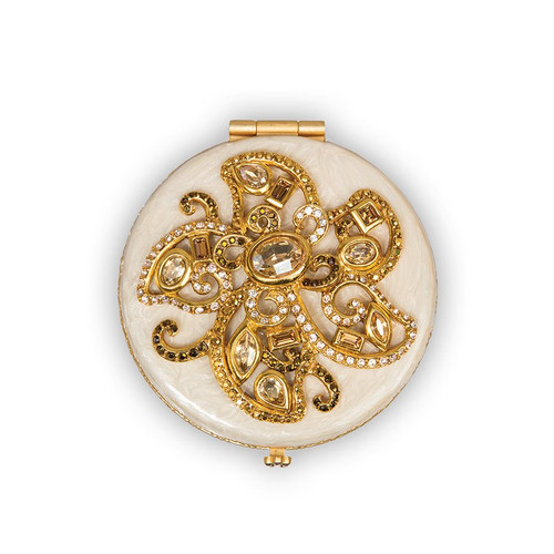 Jay Strongwater Elizabeth Flower Jeweled Compact - Neutral - Special Order