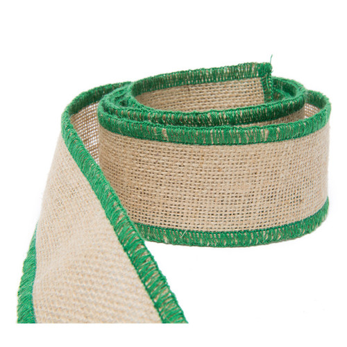 Vietri Old St. Nick Natural Jute w/ Green Trim Stitching Ribbon