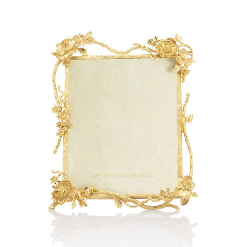 """Jay Strongwater Dacia Floral Branch 8"""" x 10"""" Frame - Gold"""