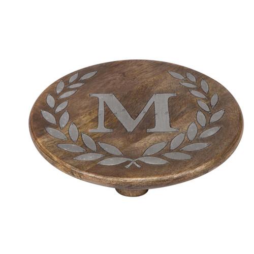 "Heritage Mango Wood with Metal Inlay Monogram 10""  Trivet - M - GG Collection"