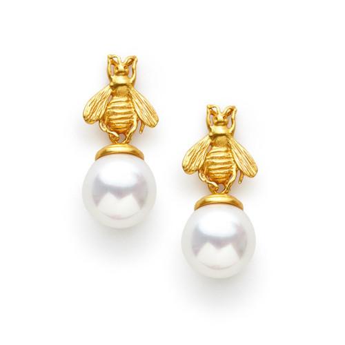 Julie Vos Bee Drop Earrings - Pearl