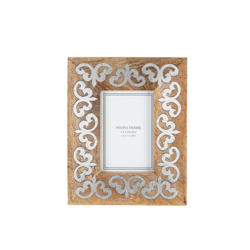 """Heritage Mango Wood with Metal Inlay 4""""x6"""" Frame by GG Collection"""