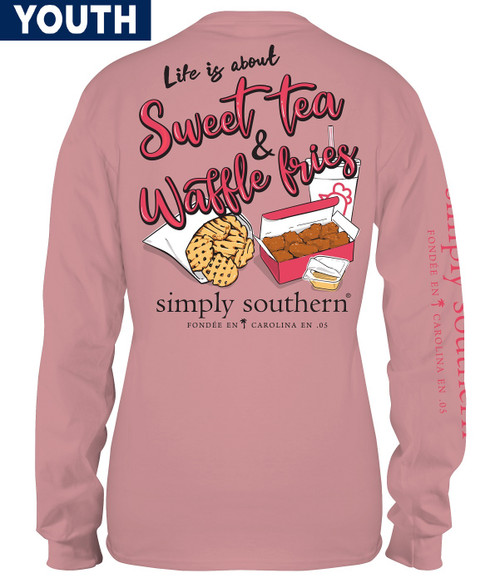 Small Sweet Tea & Waffle Fries Crepe YOUTH Long Sleeve Tee by Simply Southern