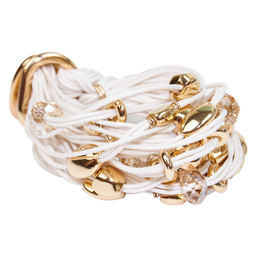 Cream Gold Nuggets & Crystals Bracelet by Gillian Julius