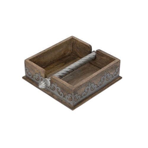 Wood and Metal Inlay Napkin Holder - GG Collection