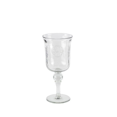 Medallion Grey Hammered Glass Wine Glass - GG Collection