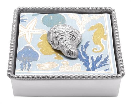 Oyster Beaded Napkin Box by Mariposa