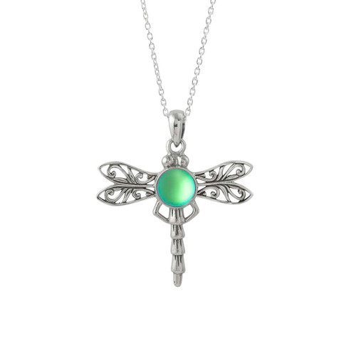 Frosted Green Dragonfly Pendant by LeightWorks Wearable Fine Art
