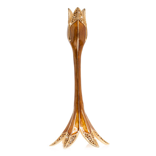 Jay Strongwater Abraham Tulip Medium Candle Stick Holder in Topaz - Special Order