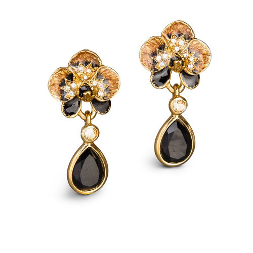 Jay Strongwater Savannah Orchid Teardrop Post Earrings