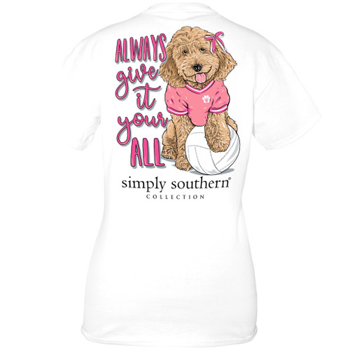Medium Volleyball White  Short Sleeve Tee by Simply Southern