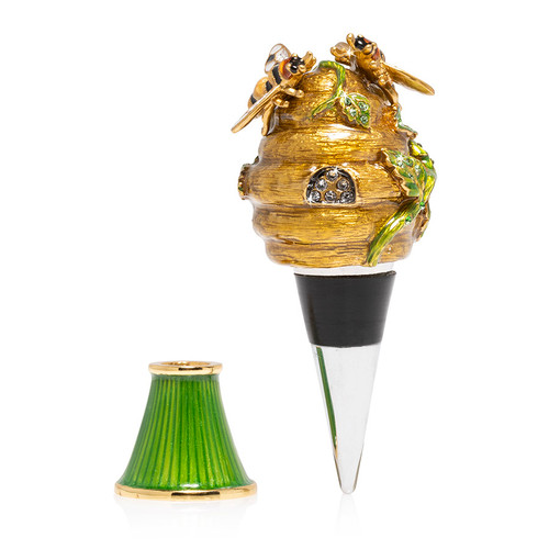 Jay Strongwater Mead Beehive Wine Stopper and Stand - Special Order