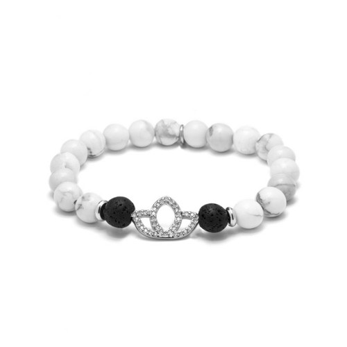 Howlite Lotus Essential Oil Bracelet by Cosmo Style Jewelry