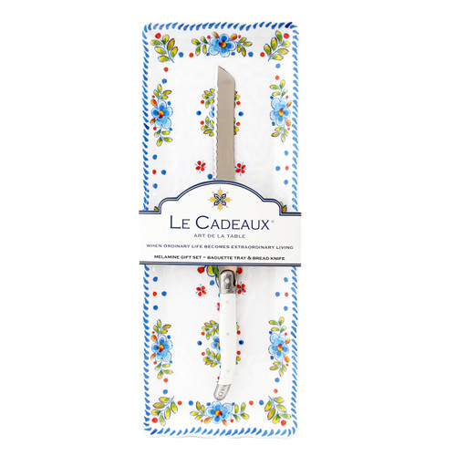 Madrid White Baguette Tray With Bread Knife by Le Cadeaux