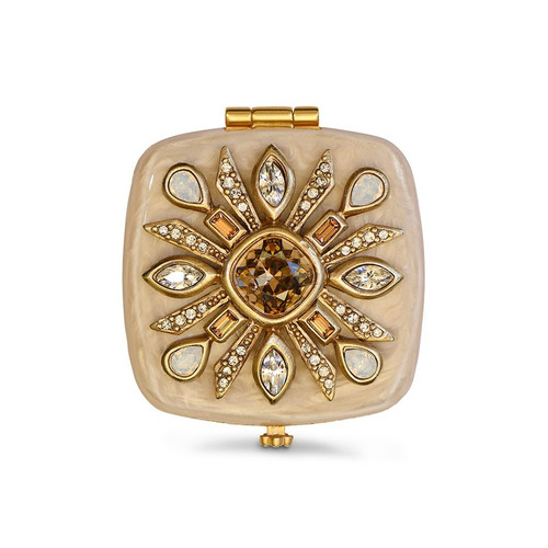 Jay Strongwater Schuyler Maltese Bejeweled Compact - Neutral
