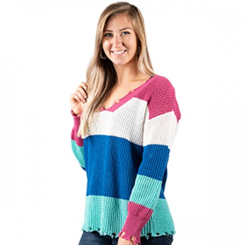 Xlarge Bright Striped Distressed Sweater by Simply Southern