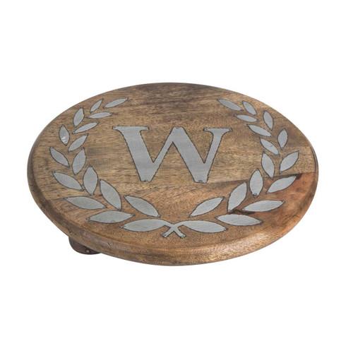 "Heritage Mango Wood with Metal Inlay Monogram 10""  Trivet - W - GG Collection"
