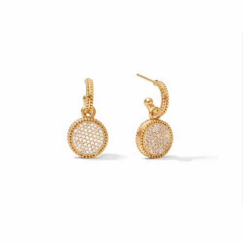 Julie Vos Fleur de Lis Hoop & Charm Earring - Gold Pave & Cubic Zirconia Reversible