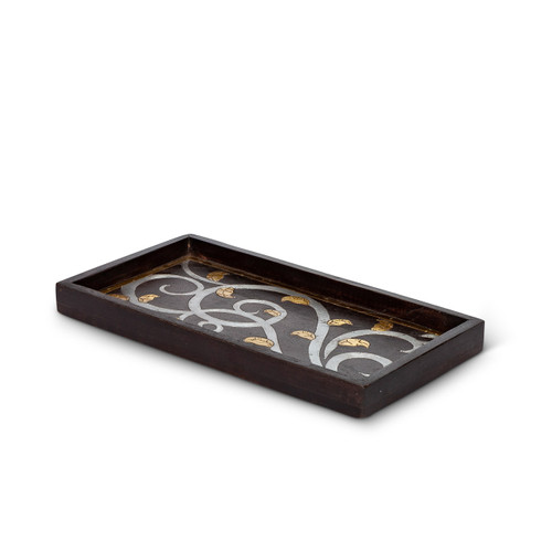Gold Leaf Mango Wood with Metal Inlay Small Rectangle Tray - GG Collection