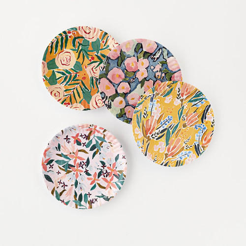 """Floral """"Paper Plate Look"""" Melamine 9"""" Plate by One Hundred 80 Degrees - Set of 4"""