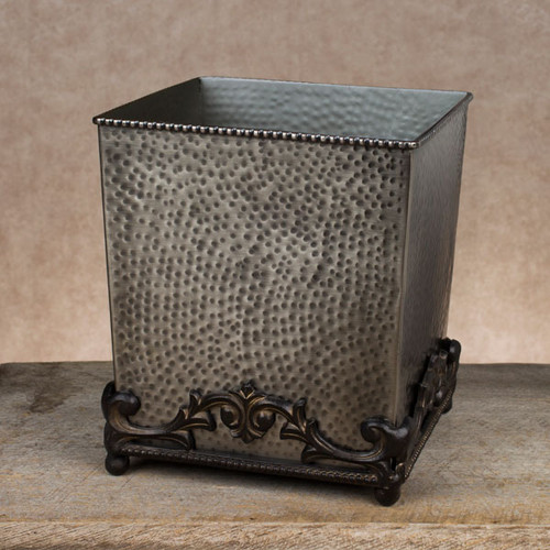 Antique Silver Hammered Wastebasket -GG Collection