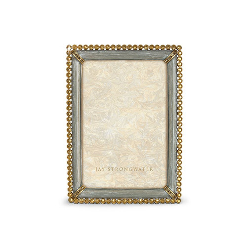 """Jay Strongwater Lorraine Stone Edge 4"""" x 6"""" Square Frame - Platinum Gray - Special Order"""